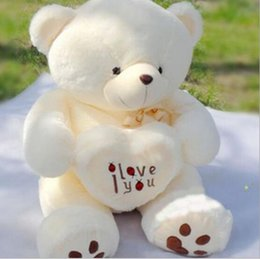 Wholesale I Teddy - Wholesale- 50cm Stuffed Plush Toy Holding I Love You Heart Big Plush Teddy Bear Soft Gift for Valentine Day Birthday Girls gift
