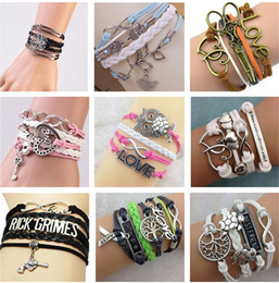 Wholesale Owl Infinity Love Bracelet - charm bracelets for women Love Believe Owl Heart Bird Bestfriend Jewelry fashion Leather Cute Infinity Bracelets