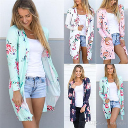 Wholesale Vintage Sheer Cardigan - Female Kimono Cardigan Blouse Shirt Spring Autumn Women Top Jacket Long Sleeve White Green Pink Blue Floral Top Blusas Feminina DHL NX170908