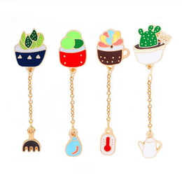 Wholesale Asian Fashion Bags - Fashion Funny Cactus Plant Enamel Brooch Button Collar Pins for Women Kid Jewelry Chain Brooches Pins Bag Badge Accessories