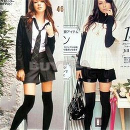 Wholesale Womens Hosiery Thigh High - Wholesale-New Simple 1 X Womens Girls Sexy Cotton High Thigh High Hosiery Stocking Over The Knee