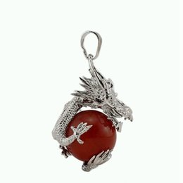 Wholesale Jade Dragon Pendant Jewelry - Natural Stone Chinese Style Silver Plated Dragon Ball Bead Pendant Jewelry