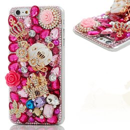 Wholesale 3d Lipsticks - Luxury 3D Handmade Bling Shiny Diamond Rhinestone Crystal Camellia Flower with Crown Lips Lipstick Hard PC Cover for Iphone 6 7 8 plus
