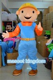 Wholesale Mascot Costume Bob - Bob the Builder Mascot Costume Fancy Dress Halloween Party Dress Free Ship Adult