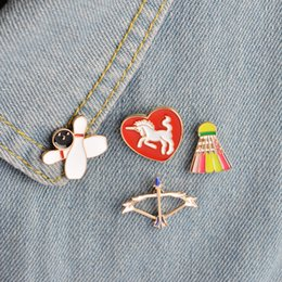 Wholesale Badminton Jewelry - Wholesale- 4pcs set Bowling Bow and Arrow Badminton Unicorn in Heart Brooch Button Pins Denim Jacket Pin Badge Cartoon Sports Jewelry Gift