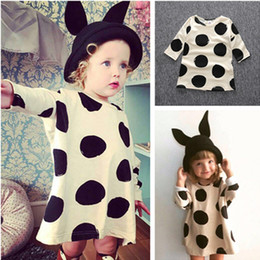 Wholesale Shirt Long Dress Girl - INS Baby Girls Clothes Princess Dress Fashion Cotton Long Sleeve Dot Knitting T-shirt Skirt One-piece Dresses Children Kids Clothing 016