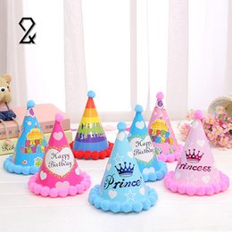 Wholesale Recycle Caps - Wholesale- 12Pcs Cute Colour Recycled Paper Birthday Party Hat Hair Ball Caps Photobooth Event Kids Celebration Gifts Decoration Supplies
