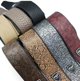 Wholesale Musical Folk Instruments - Free shipping Comfortable PU Leather Embossed Electric Guitar Strap Acoustic Guitar Bass Strap Folk Guitar Belt Musical Instrument Strap
