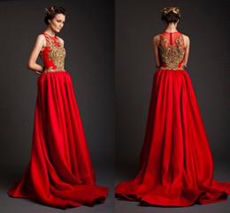Wholesale Luxurious Chiffon Dress - Krikor Jabotian Gold Applique Red Dresses A-Line Sweep Train Sleeveless Covered Button Luxurious Evening Dresses Arabic Evening Gowns