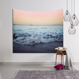 Wholesale Wave Wall Decoration - Sea Wave Printed Tapestry Wall Hanging Gobelin Hippie Boho Beach Throw Blanket Polyester Fabric Home Decoration Table Cloth Mat