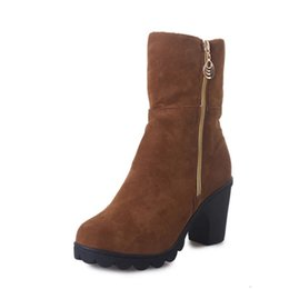 Wholesale Zipper Winter Boots For Women - Wholesale-Two Styles Chunky Women Ankle Boots Side Zipper Knight Snow Shoes Fashion Metal Half Boots For Woman Suede High Heel Boats