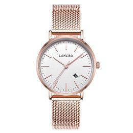 Wholesale Sapphire Party Dress - DW watch LONGBO brand mens wristwatch date women steel casual quartz dress party watch boy friend gorl lover cheap top quanlity with box