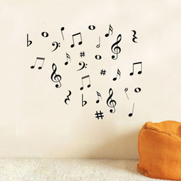Wholesale modern art music - Wholesale- DIY MUSIC Musical NOTES Variety Pack Wall Stickers Vinyl Decoration Decal Art Living Room Bedroom Bathroom Home Decor Mural