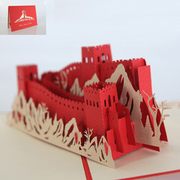 Wholesale Wholesale Wall Paper China - 2017 China Famous The Great Wall Greeting Cards Kirigami Origami 3D Pop UP Card for Birthday Gift 10 pieces lot