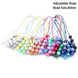 Wholesale Kids Wholesale Necklaces - MHS.SUN New Design Fashion Adjusted Rope Necklace Birthday Party Gift For Toddlers Girls Beaded Bubblegum Baby Kids Chunky Necklace Jewelry