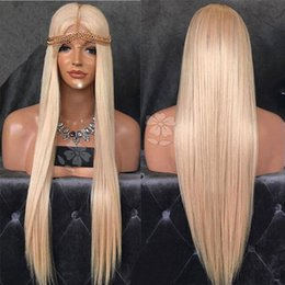 Wholesale silver wigs for women - Soft Long Silver Platinum Blonde Lace Front Lace Wigs Synthetic Ash Blonde Straight Heat Resistant Fiber Medium Parting Wigs For Black Women