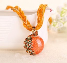 Wholesale Lady Multi Crystal Necklace - MOQ 12pcs Cabochon and Crystal Peacock Pendant Necklace Multi Strands Twisted Glass Beads Choker Necklaces Popular 17 Colors for Lady