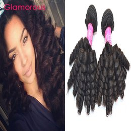 Wholesale Curly Remy Hair Sale - Glamorous Brazilian Human Hair Baby Curly Hair 4 Bundles Natural Color Double Weft Malaysian Indian Peruvian Virgin Hair Extensions on sale