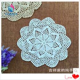 Wholesale Crochet Cup Placemat - Wholesale- Free fashion European design 20pics lot 25cm Round cotton crochet cup mat pads for home decoration placemat napkin felt flowers