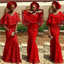 Wholesale Tail Dresses For Summer - fashion african dresses for prom evening cape sleeves red lace bridal outfits evening dresses aso ebi gown style fish tail party dresses