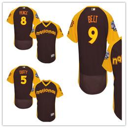 Wholesale Number Hunter - 2016 San Francisco Giants All Star National Men Baseball Jerseys 9 Brandon Belt 8 Hunter Pence 5 Matt Duffy Men Jersey every name number