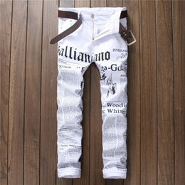 Wholesale Newspaper Pencils - Wholesale- Hot Men's John Males Galliano Top Quality Punk Rock Nightclub DS DJ Newspaper printed pattern Slim Jeans Motorcycle Jeans