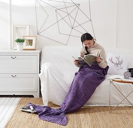 Wholesale Hand Wash Sale - the new fish tail Hot sale Knitted Mermaid Tail Blanket Adult Child Baby Mermaid Blanket Knit Cashmere-Like TV Sofa Blanket