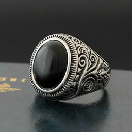 Wholesale Banded Onyx - New Men's Vintage Large Natural Oval Genuine Black Onyx Gemstone Floral Vine 316L Stainless Steel Ring
