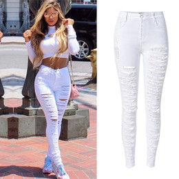 Wholesale Womens Plus Denim - Wholesale- Plus size 44 Sexy Womens High Waist Skinny Ripped Slim Fit Cut Hole Denim Jeans White black Stretchy Denim Pencil Pants JEANS