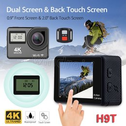 Wholesale Control Lens - 2.0 Touch Screen 4K Action Camera Dual Screen H9T with remote control 4K 25fps WiFi HDMI 1080P Waterproof 170 Degree Lens Sports Camera
