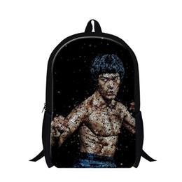 Wholesale Kung Fu Bags - Wholesale- Dispalang Bruce Lee Youth Backpacks Cool Children School Bags For Teenagers Kung Fu Mens Shoulder Bag Kids Book Bag Knapsack