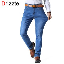 Wholesale Mens Designer Jeans 34 32 - Wholesale- Drizzte Mens Lightweight Thin Stretch Jeans Black Blue Soft Denim Fashion Designer Slim Jean Jeans Size 30 32 33 34 36 38 40