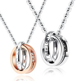 Wholesale Necklace Two One - Love One Another Couple Cool Jewelry Two circles Pendant 316L Stainless Steel Crystals Necklace New Silver Rose Gold Black