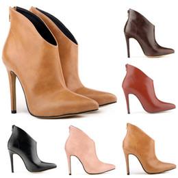 Wholesale Womens Black Platform Boots - Chaussure Femme Womens Pointed Toe Faux Leather High Stiletto Heel Platform Ankle Boots Ladies Shoes Women US Size 4-11 D0051