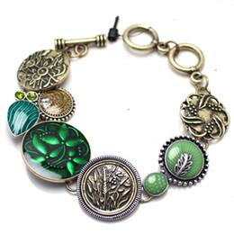 Wholesale Vintage Turquoise Gold Ring - Wholesale-Fashion New Vintage Turquoise Gold Color Alloy Oil Drops Brand Design Chain Bracelets Bangles