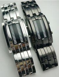 Deutschland Großhandels-Mischungs-2colors Metallart-Doppeltes LED binäre Uhr-Mann-Frauenart 70pcs / lot multi wasserdichte Uhren 50M Versorgung