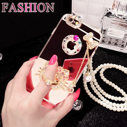 Wholesale Iphone Cases Pearls - 2017 new style iphone 6 6s 6 plus 6s plus mobile phone mirror plate pearl sling diamond bracket case