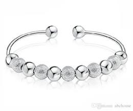 Wholesale Cheap Silver Plated Bracelets Wholesale - New Cheap Fine Jewelry White Gold Plating Wedding Jewelry 925 sterling silver bracelet Bangles Silver Beads Bangle 10pcs Free Shipping