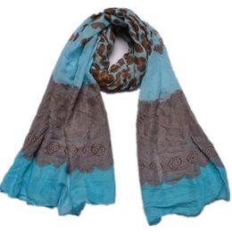 Wholesale Shawl Lace Hijab - Wholesale-Leopard Lace Viscose Patchwork Shawl 2016 Spain Fashion Brand Echarpe Foulards Femme Wrap Snood Bufandas Mujer Muslim Hijab Caps