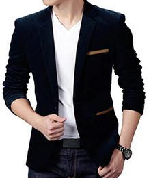 Wholesale Stylish Buttons - Wholesale- Abetteric Men's Stylish Long Sleeve Peaked Lapel Suit Blazer