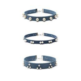 Collar de perlas para mujer de colores. online-Venta caliente collar de perlas de colores gargantilla Jeans collar gargantilla para las mujeres 2017 gargantilla de diamantes collares 1 set = 3 piezas