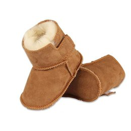 Wholesale Infant Baby Walker - winter baby First Walkers infants warm shoes Faux fur girls baby booties Leather boy baby boots