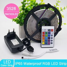 Wholesale 24 Dc Power Supply - 2017 New Arrival 5m RGB led strip SMD 3528 Waterproof 300 Led Strip Light + 24 Keys IR Remote+12V 2A power supply free shipping