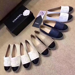 Wholesale Espadrilles Flats - Shoes for Women Genuine Leather Espadrilles Brand Designer Fashion Flats Loafers Shoes Woman high quality Casual Shoes with box
