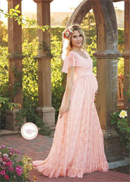 Wholesale Lace Gown Pregnancy Dress - 2017 Women White Skirt Maternity Photography Props Lace Pregnancy Clothes Maternity Dresses For pregnant Photo Shoot Clothing