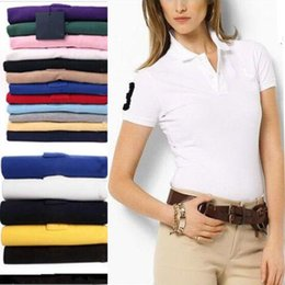Wholesale Woman Business Shirt - Brand clothing New Women Big Horse Embroidery Polo Shirt Woman Business & Casual solid Women polo shirt Short Sleeve breathable polo shirt