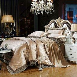 Wholesale Luxury Jacquard Bedding Silk - Wholesale- Gray gold Jacquard bedding sets 6pc 4pc queen king size duvet cover set Silk Cotton blend Fabric luxury bedlinen