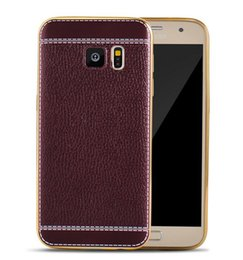 Wholesale Rubber Edges - For Samsung Galaxy S8 Luxury Litchi Electroplating Leather TPU Case Rubber Plating Back Cover for Samsung S8 plus S7 edge Note 5