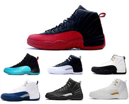 Wholesale Pu Sneakers - 2017 cheap air retro 12 wool XII basketball shoes ovo white Flu Game wolf grey Gym red taxi gamma french blue Suede sneaker