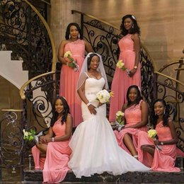 Wholesale One Size Girls Dresses - 2017 Africa Black Girl Coral Bridesmaid Dresses One Shoulder Floor Length Long For Wedding Guests Maid of Honor Gowns